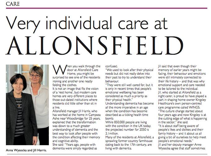 Very individual care at Allonsfield House