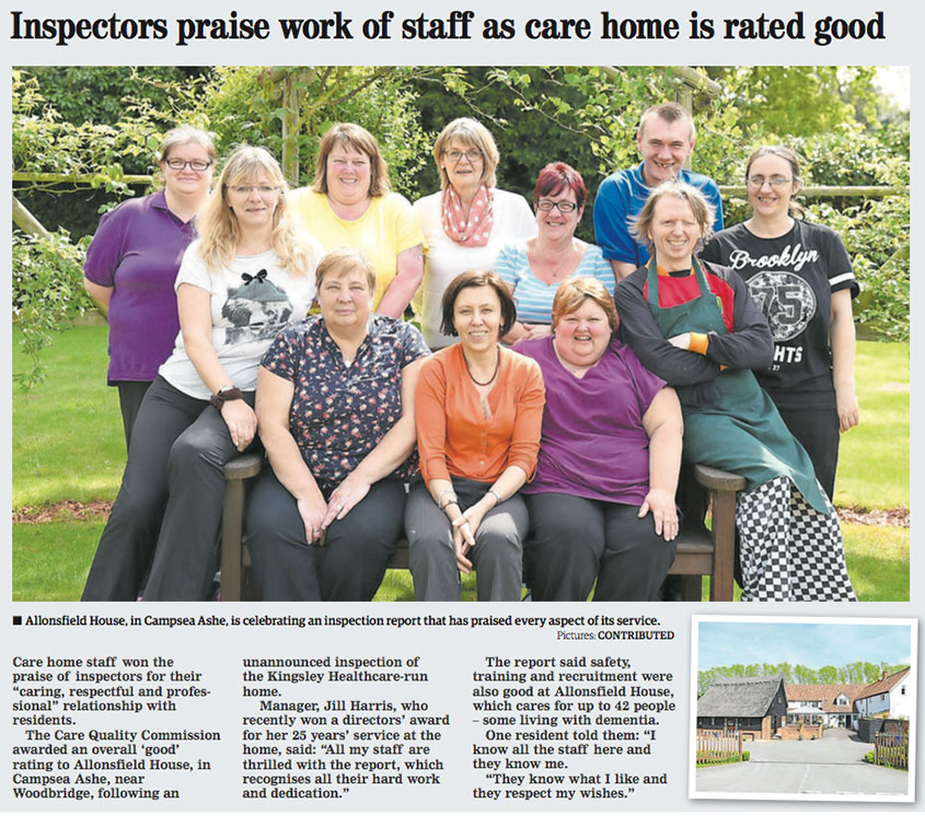 Inspectors praise work of staff as care home is rated GOOD
