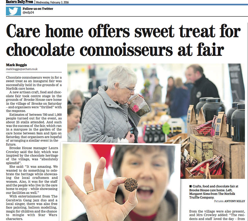 Care home offers sweet treat for chocolate connoisseurs at fair