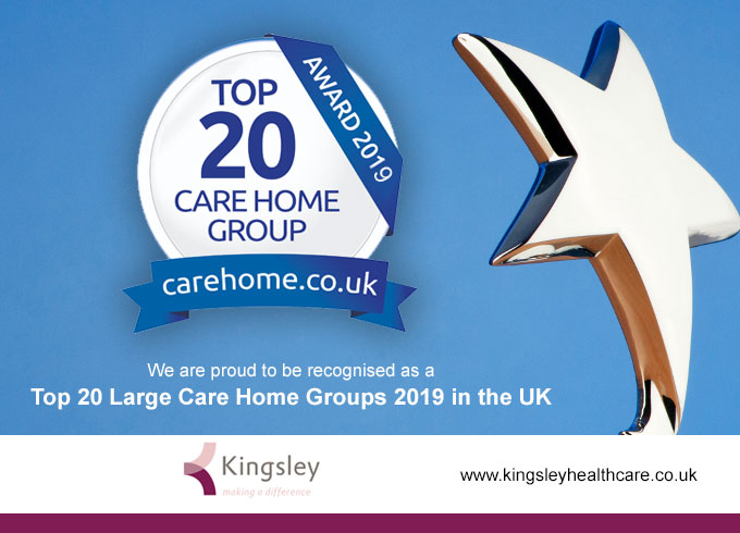 Kingsley Healthcare is celebrating two accolades in the prestigious carehome.co.uk awards