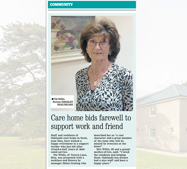 Care home bids farewell to support work and friend