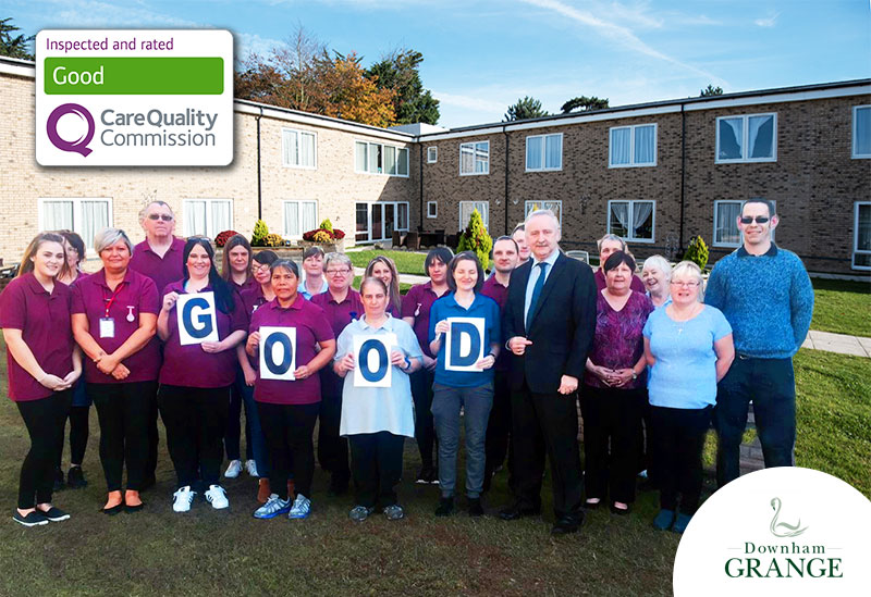 Staff at Downham Grange care home have welcomed an overall GOOD Care Quality Commission (CQC) inspection rating