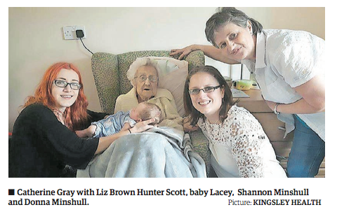 Five generations of family come together