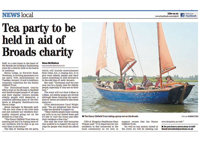 Tea party to be held in aid of Broads charity