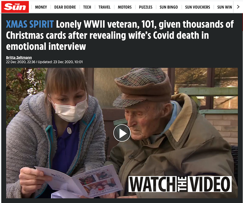 XMAS SPIRIT Lonely WWII veteran, 101, given thousands of Christmas cards after revealing wife's Covid death