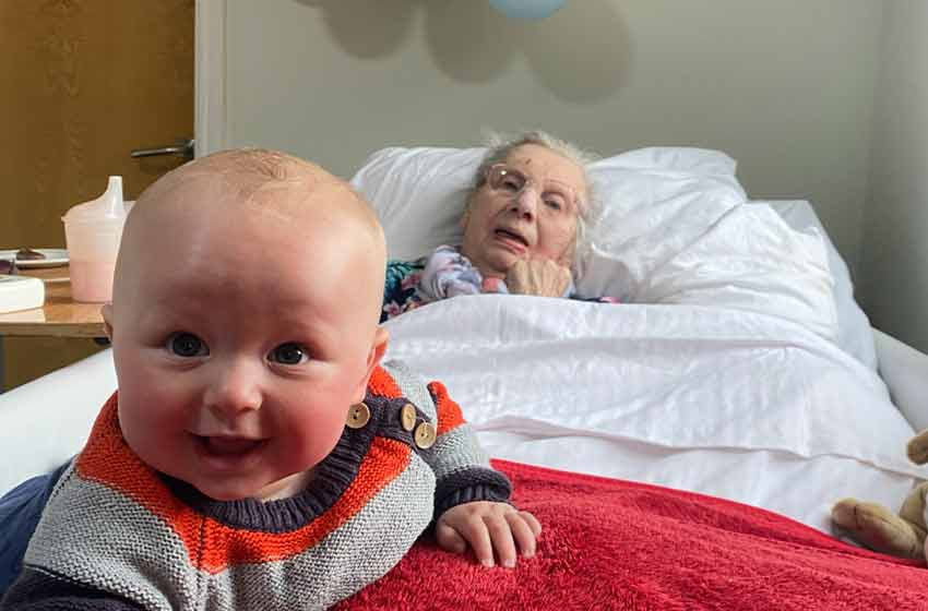 101-year-old Grace sees great-grandson Xander for first time as lockdown eases