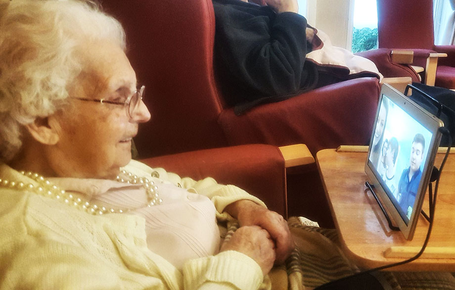 101-year-old Sharston House resident Ada reunited with her great niece in Australia by Skype
