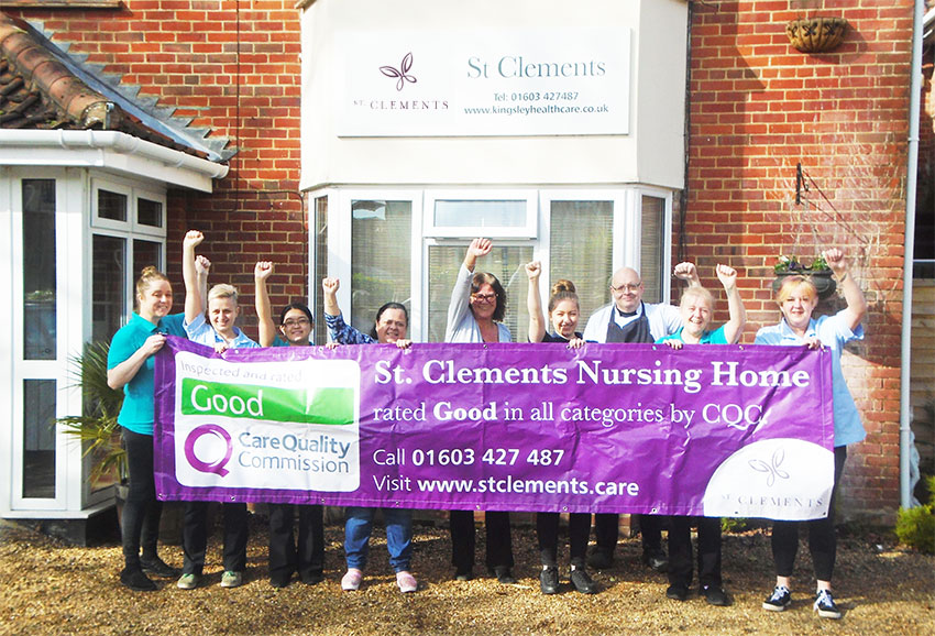 Staff celebrate good CQC rating at St Clements Nursing Home