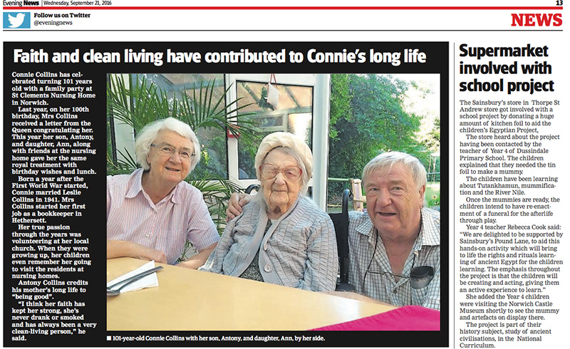 Faith and clean living have contributed to Connie's long life