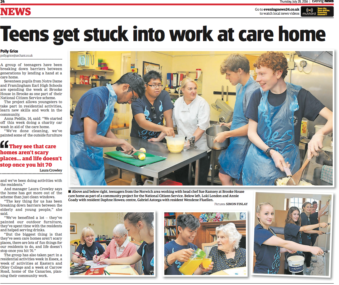 Teens get stuck into work at care home