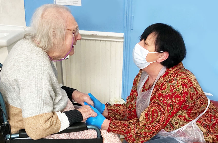 First day of hand-holding visits at The Willows nursing home in Bedford