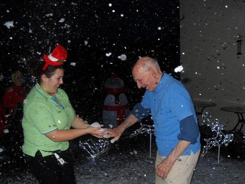 Care home residents treated to early 'white' Christmas
