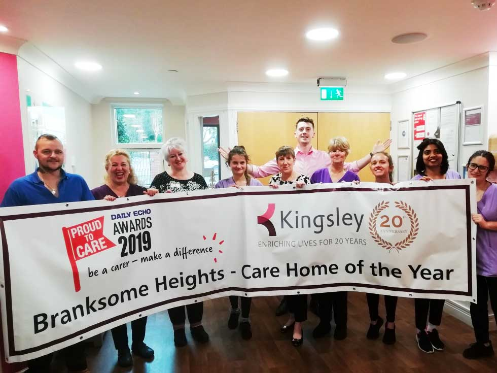Winners! Branksome Heights staff are proud to be crowned Bournemouth Care Home of the Year 2019