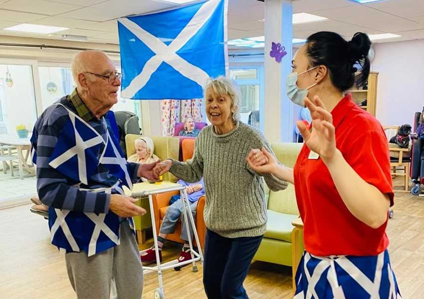 Burns Night celebration at Highcliffe Nursing Home