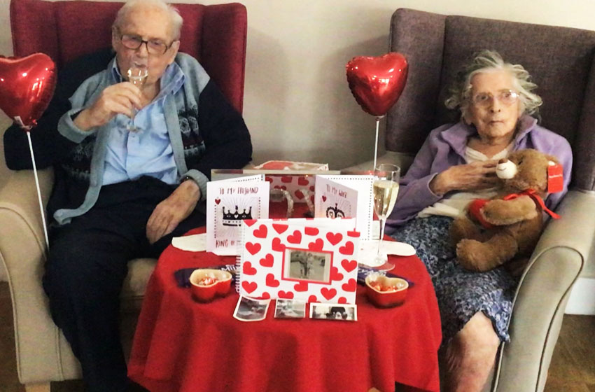 Staff at Downham Grange organised a Valentine's Day surprise for their only couple
