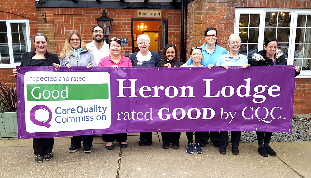 Heron Lodge nursing home celebrating their good Care Quality Commission report