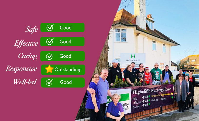 Staff at Highcliffe Nursing Home are proud of their outstanding CQC success