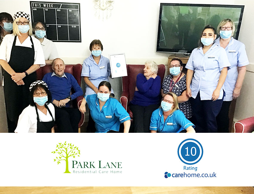 Staff at Park Lane care home in Congleton are celebrating after achieving a rating of 10 on the leading review site carehome.co.uk