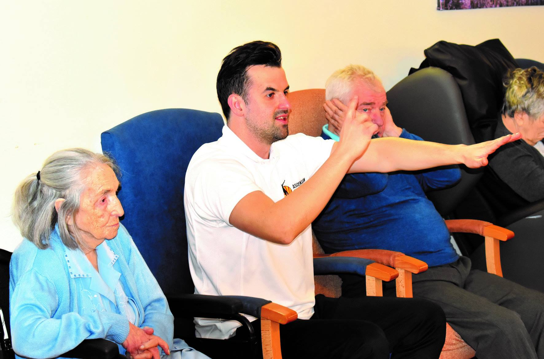 Residents at Spring Lodge in Woolverstone enjoy Eddie s fitness workouts!